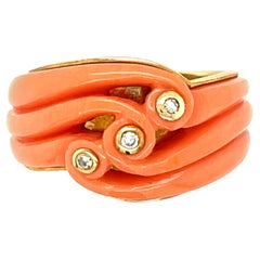 Modern 18 Karat Yellow Gold Carved Coral Diamond Band Ring