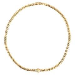 18 Karat Yellow Gold and Diamond Serpentine Necklace Collarette, circa 1990
