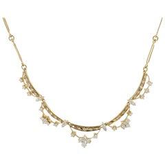 Modern 18 Karat Yellow Gold Diamonds Collar Necklace