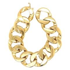 Modern 18 Karat Yellow Gold Flat Curblink Bracelet