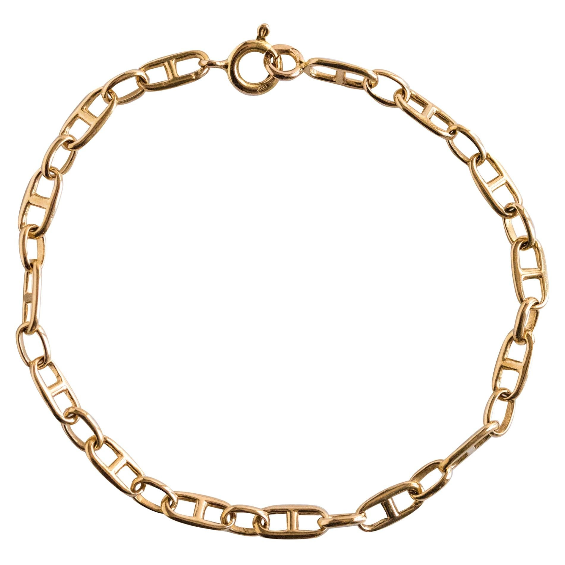 Modern 18 Karat Yellow Gold Navy Link Curb Bracelet