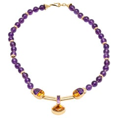 Modern Amethysts, Diamonds and Citrines Necklace in Yellow Gold Setting
