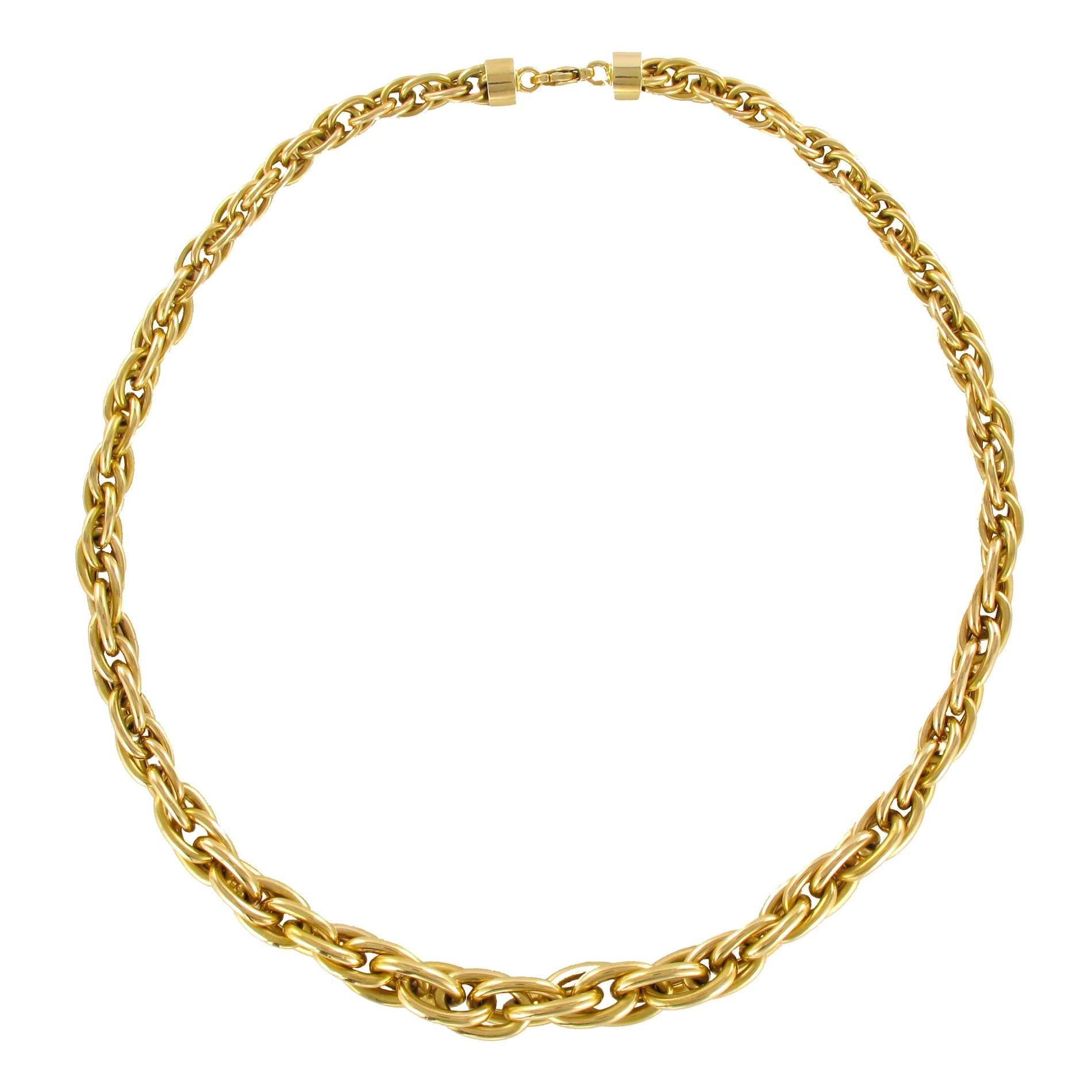 Modern 18 Karat Yellow Gold Nested Mesh Necklace