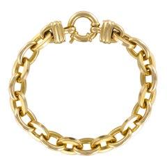 Modern 18 Karat Yellow Gold Oval Mesh Chain Bracelet