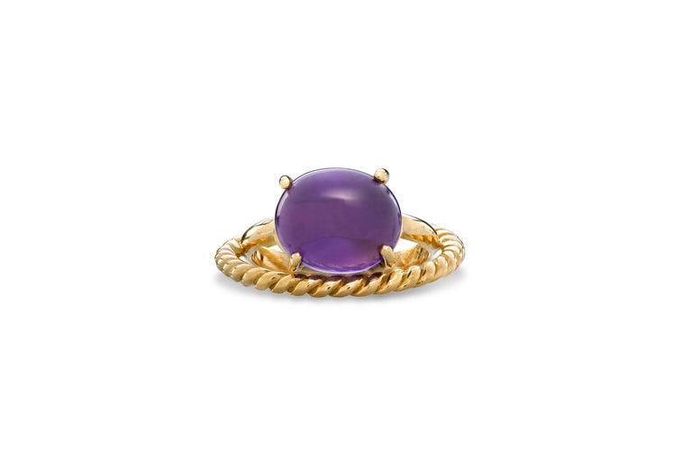 Oval Cut Modern 18 Karat Yellow Gold Twist Love Amethyst Handcrafted Design Ring For Sale