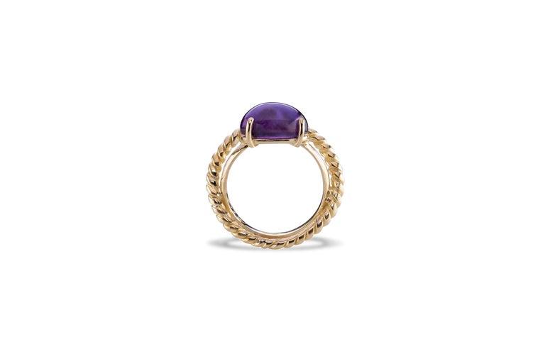 Modern 18 Karat Yellow Gold Twist Love Amethyst Handcrafted Design Ring For Sale 1