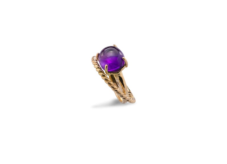 Modern 18 Karat Yellow Gold Twist Love Amethyst Handcrafted Design Ring For Sale