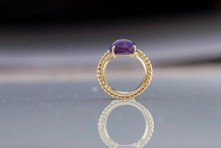 Modern 18 Karat Yellow Gold Twist Love Amethyst Handcrafted Design Ring For Sale 3