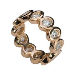 """Modern 18 Karats Rose Gold White Diamonds """"Rose Ellipse"""" Engagement Ring"""