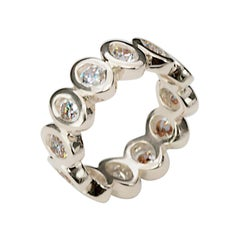 """Modern 18 Karats White Gold 2.40 Karat White Diamonds """"Ellipse"""" Engagement Ring"""