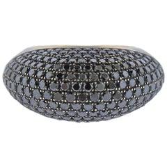 Modern 1.80 Carat Black Diamond Gold Ring