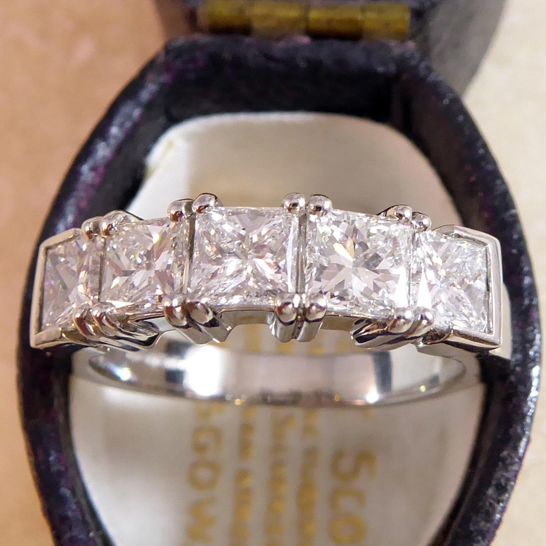7046d3bcb27ce Modern 1.81 Carat Diamond Five-Stone Ring, Princess Cut Diamonds, Platinum  Band