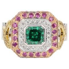 Modern 18K 2.2 Carat Tsavorite Ring Set With Diamonds, Yellow and Pink Sapphires