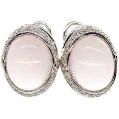 Modern 18 Karat Gold Moonstone and Diamonds Earrings