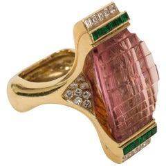 Modern 18k Pink Tourmaline, Diamond and Emerald Step Ring
