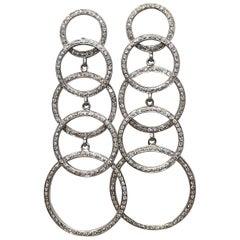 Modern 18 Karat White Gold and Diamond Long Stacked Circle Earrings
