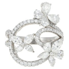 Modern 18 Karat White Gold Flower Diamond Cluster 2 Carat Total Ring