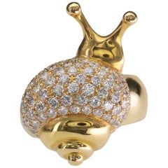 Modern 18 Karat Gold Snail Diamond Cocktail Ring