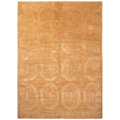 Modern 18th Century Inspired Transitional Gold and Beige Wool-Silk Rug