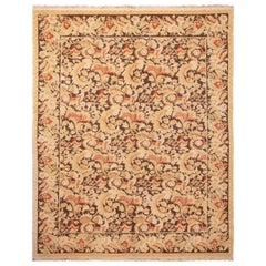 Modern 18th Century Style Transitional Brown and Beige Wool Rug