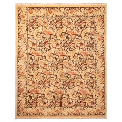 Modern 18th Century Style Transitional Wool Rug Brown and Beige All-Over Floral