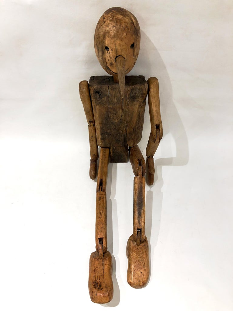 Modern 1960s Italian Vintage Life Size Articulated Wooden Pinocchio Sculpture For Sale 5