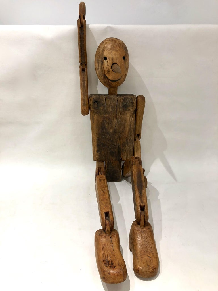 Modern 1960s Italian Vintage Life Size Articulated Wooden Pinocchio Sculpture For Sale 6