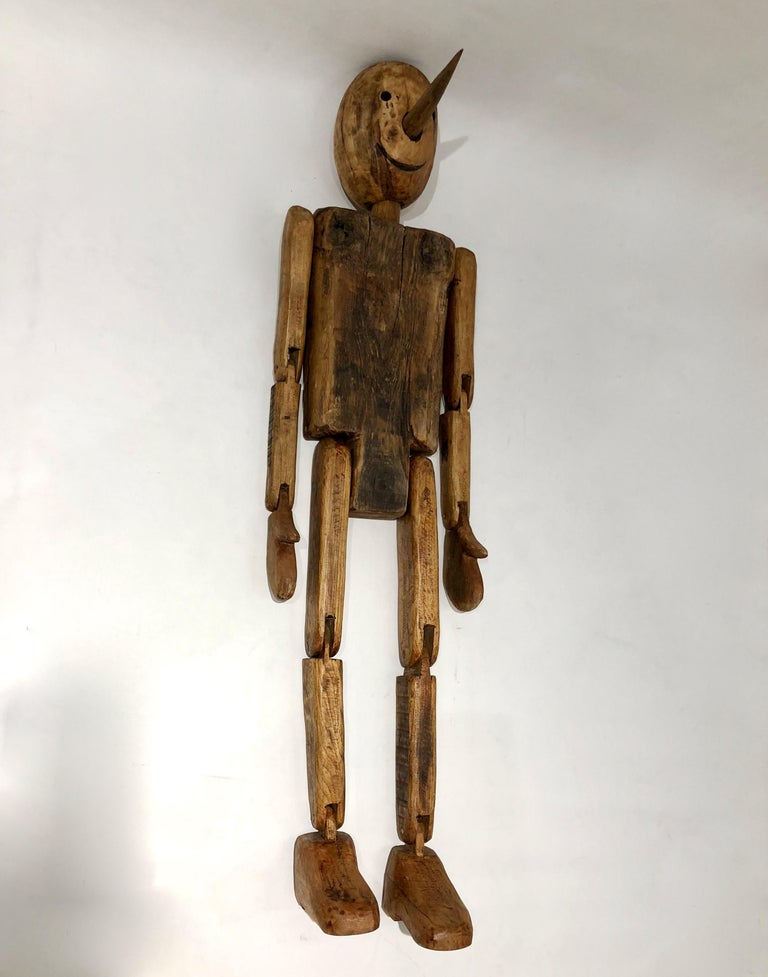 Modern 1960s Italian Vintage Life Size Articulated Wooden Pinocchio Sculpture For Sale 9