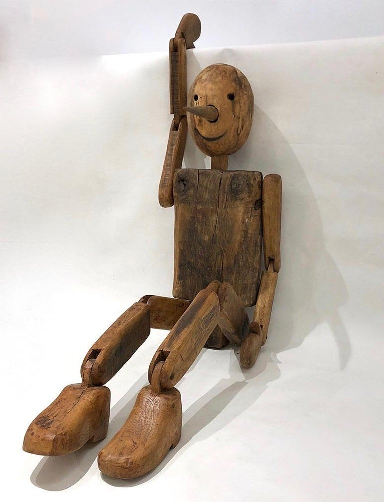 Hand-Carved Modern 1960s Italian Vintage Life Size Articulated Wooden Pinocchio Sculpture For Sale
