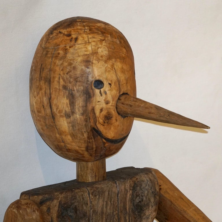 Modern 1960s Italian Vintage Life Size Articulated Wooden Pinocchio Sculpture For Sale 2