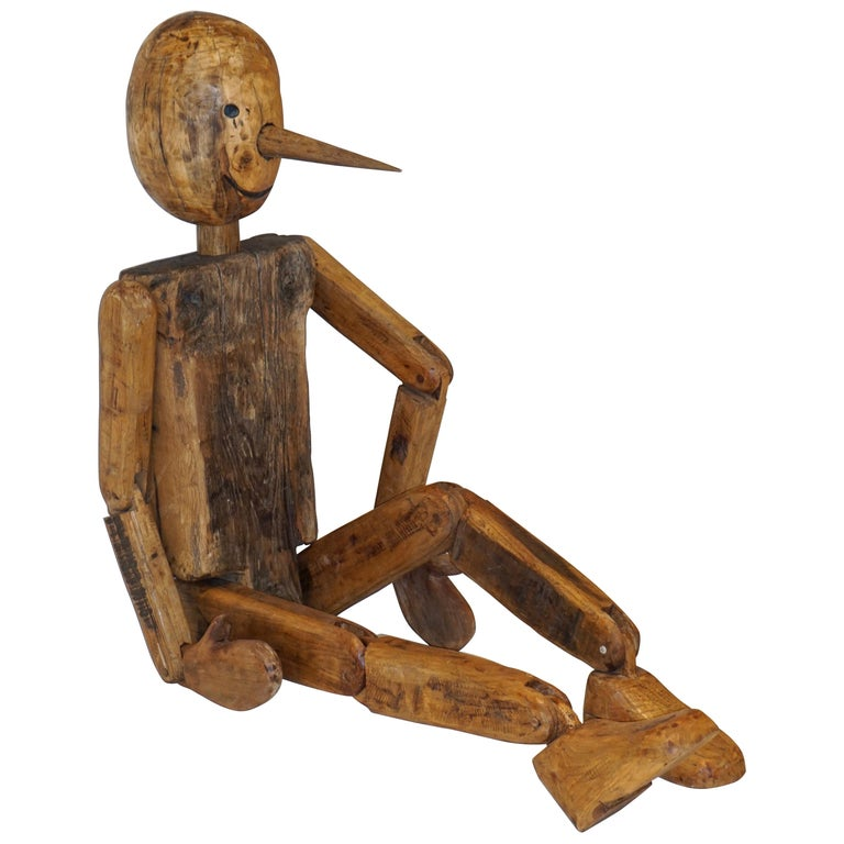 Modern 1960s Italian Vintage Life Size Articulated Wooden Pinocchio Sculpture For Sale