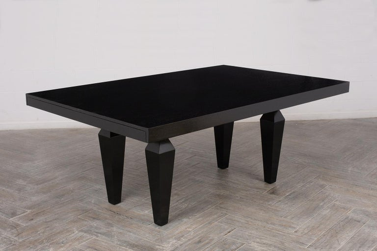 Ebonized Modern 1960s Lacquered Finish Dining Room Table For Sale