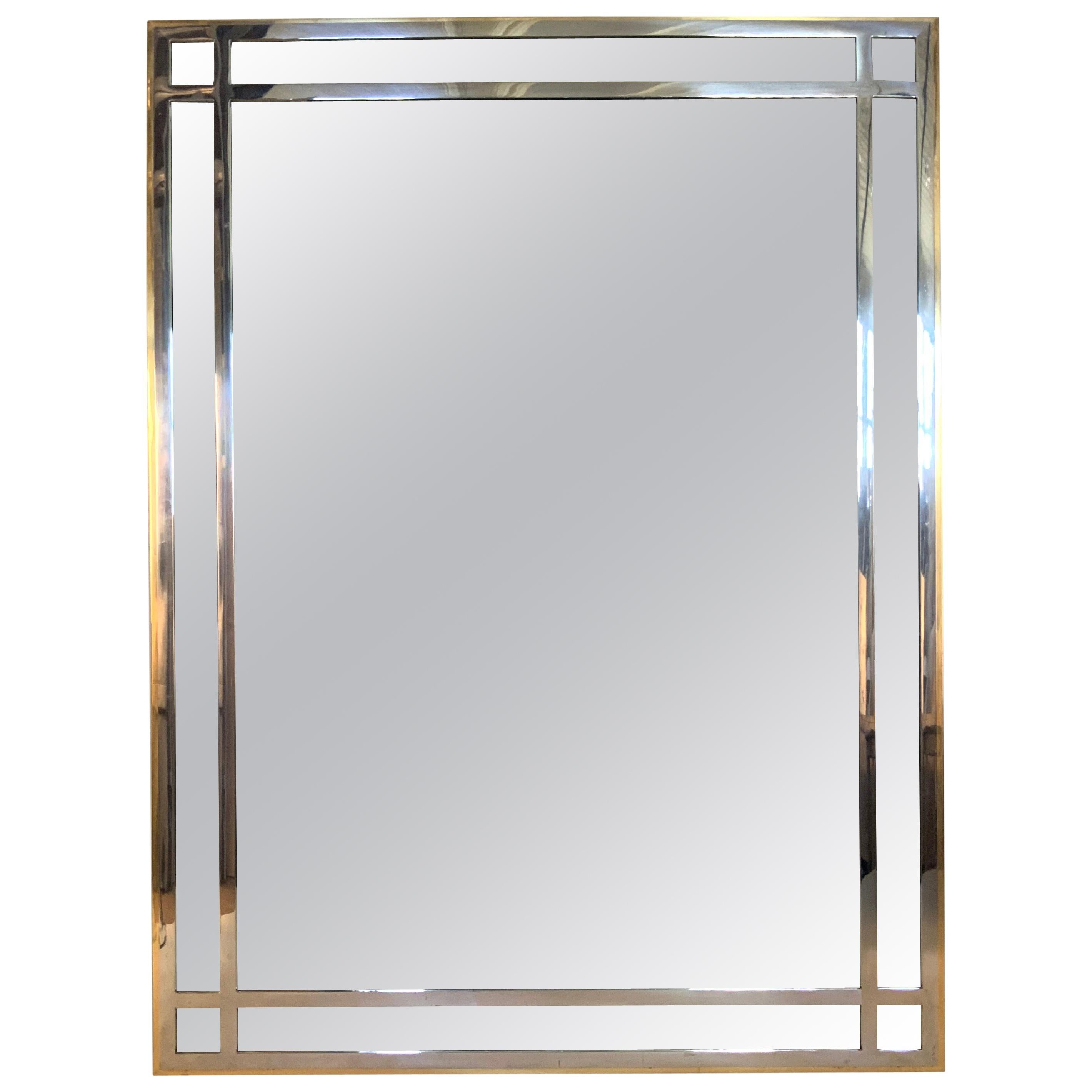 Modern 1970s Mirror with Grid Frame in Brass and Chrome