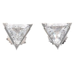 Modern 1.98 Carat Matching GIA Triangular Cut Diamond Platinum Earrings