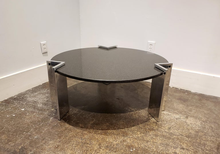 Mid-Century Modern Modern 1980s Aluminum and Granite Round Coffee Table For Sale