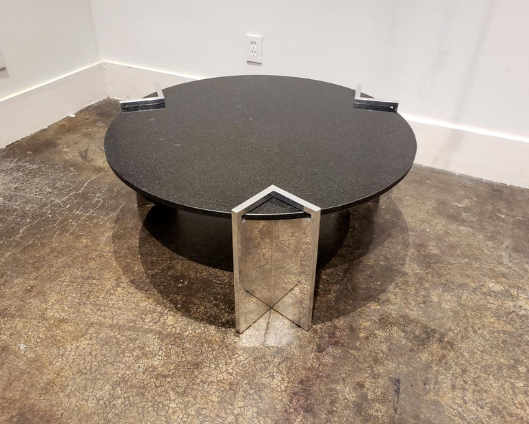 Unknown Modern 1980s Aluminum and Granite Round Coffee Table For Sale