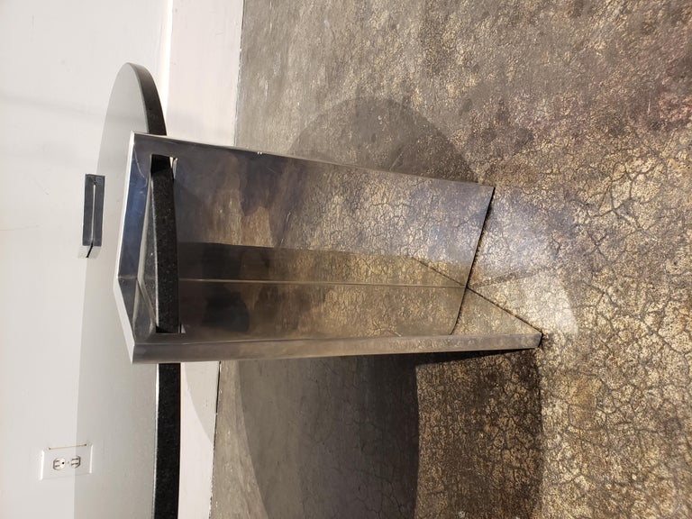 20th Century Modern 1980s Aluminum and Granite Round Coffee Table For Sale