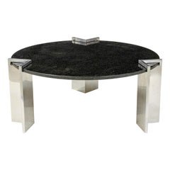 Modern 1980s Aluminum and Granite Round Coffee Table