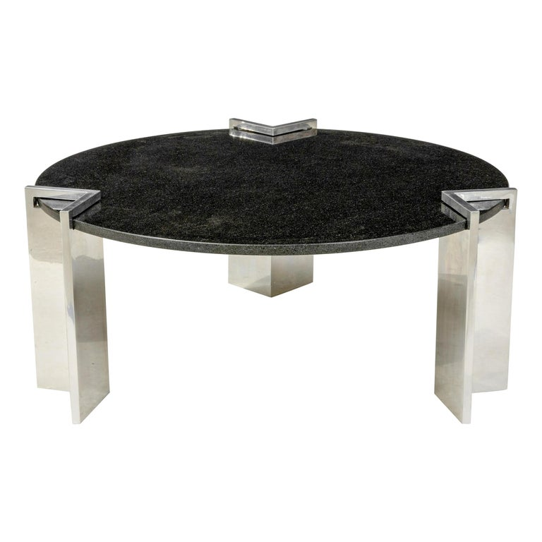 Modern 1980s Aluminum and Granite Round Coffee Table For Sale
