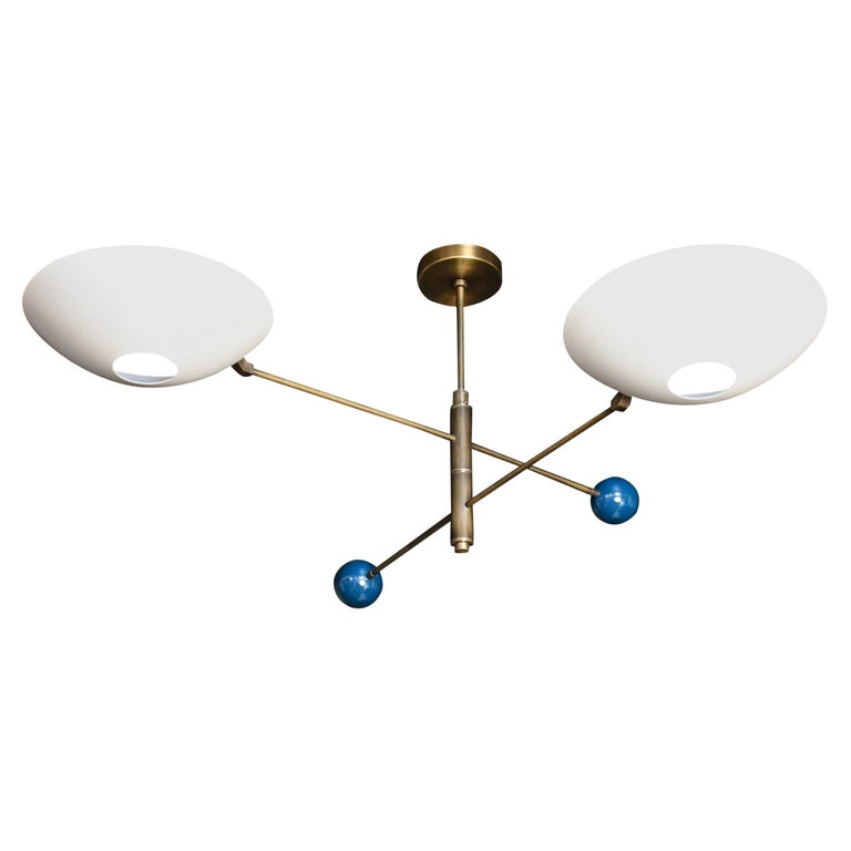 Modern 2-Tier Catalonia Fixture in Enamel and Brass by Blueprint Lighting, NYC For Sale
