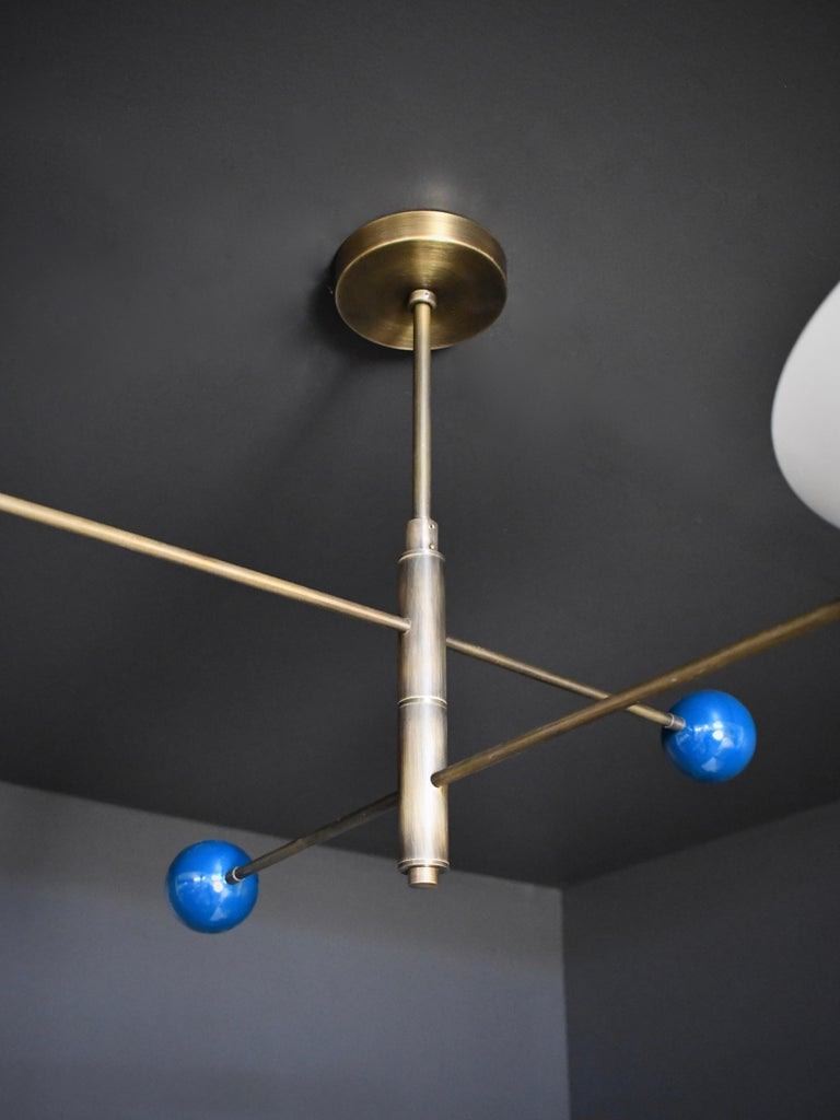 American Modern 2-Tier Catalonia Fixture in Enamel and Brass by Blueprint Lighting, NYC For Sale