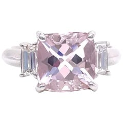 Modern 2.06 Carat Morganite Diamond Platinum Ring