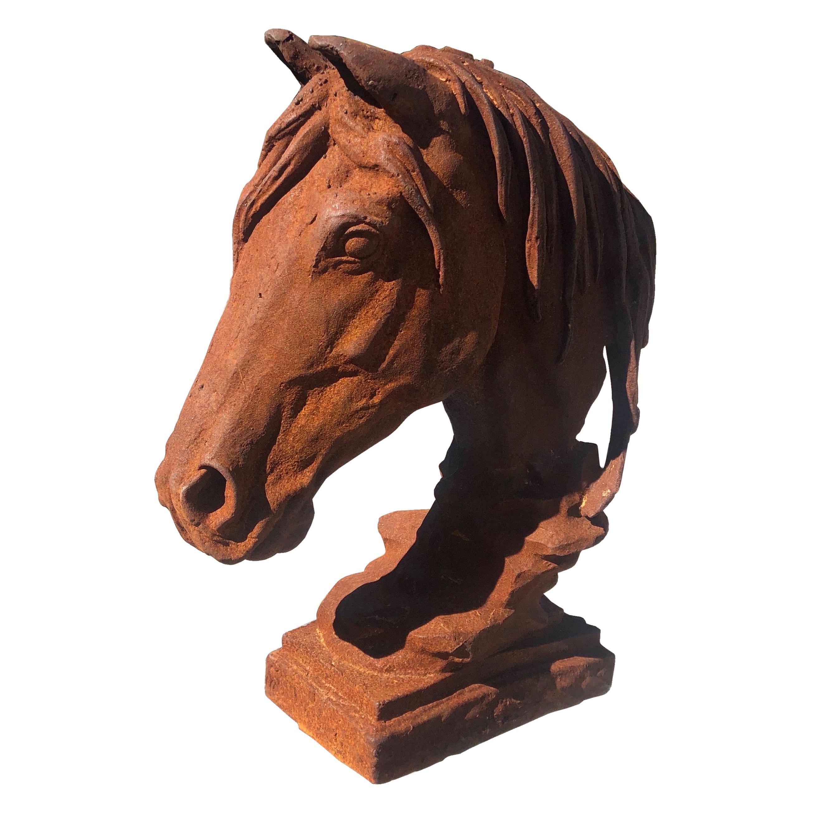Modern 20th Century Cast Iron Horse Head Sculpture