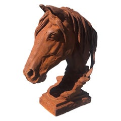 Modern 20th Century Cast Iron Horse Head Sculpture
