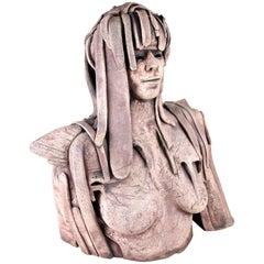 Modern 20th Century Terracotta Sculpture/ Bust Signed B. Vandenberghe, Belgium