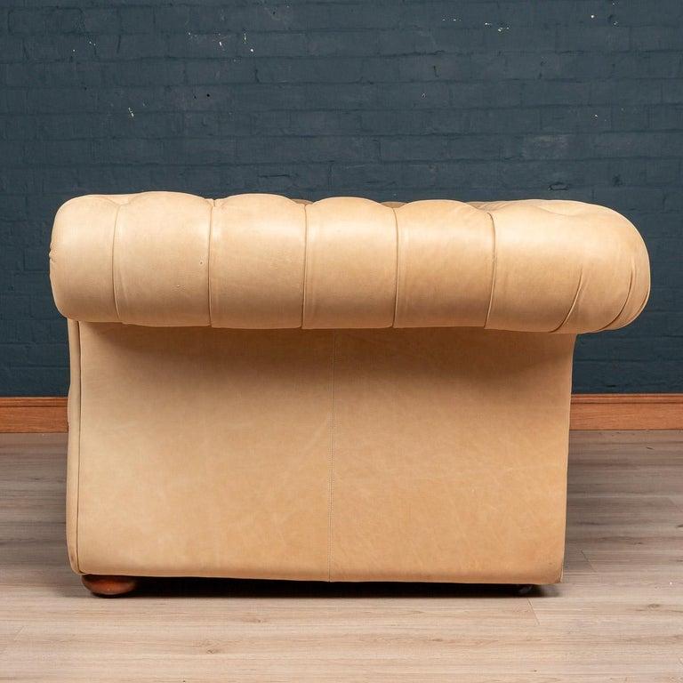 Modern 21st Century Handmade Chesterfield Sofa in White Leather