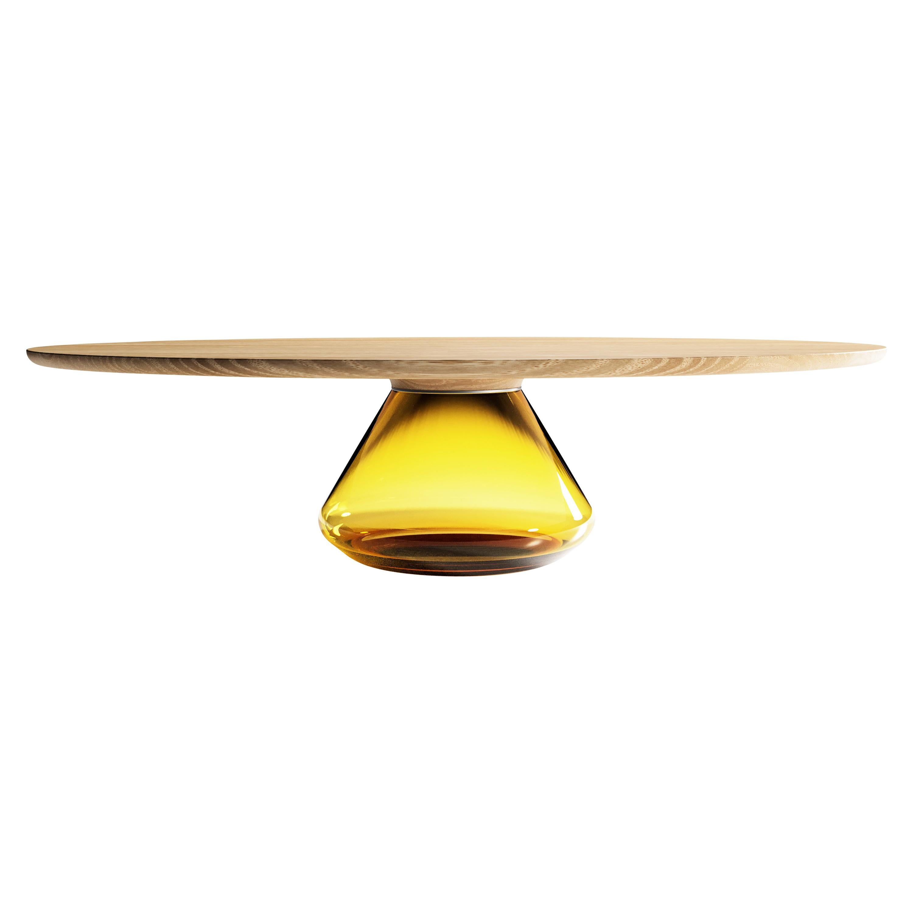"""""""Amber Eclipse"""" Contemporary Coffee Table Ft. Oiled Oak Glass by Grzegorz Majka"""