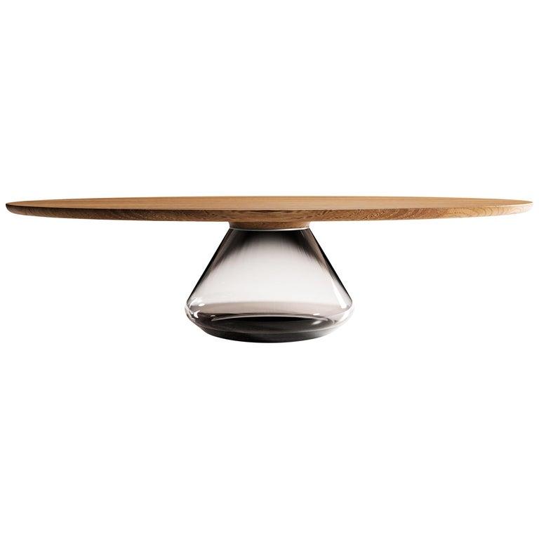 """Smoky Eclipse"" Contemporary Coffee Table Ft. Oiled Oak Glass by Grzegorz Majka  For Sale"