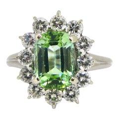 Modern 2.26ct Mint Tourmaline & Diamonds Ring, 18kt White Gold and Platinum