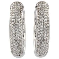 Modern 2.30 Carat Diamonds 18 Karat White Gold Earrings